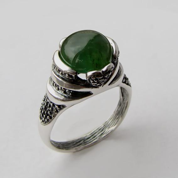 Кольцо с турмалином зеленым, арт. ПЕБА3