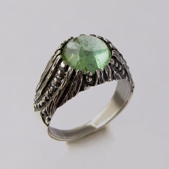 Кольцо с турмалином зеленым, арт.ПР3