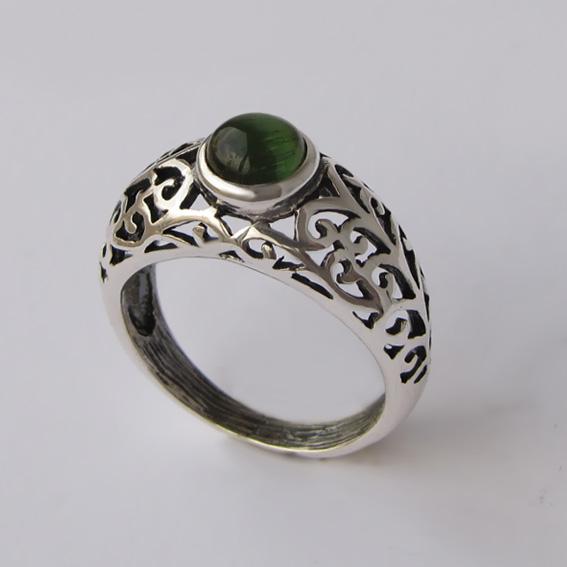 Кольцо с турмалином зеленым, арт. ВОЗД36