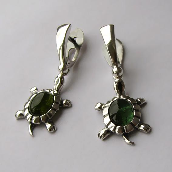 Серьги из серебра с турмалином зеленым, ЧЕР4