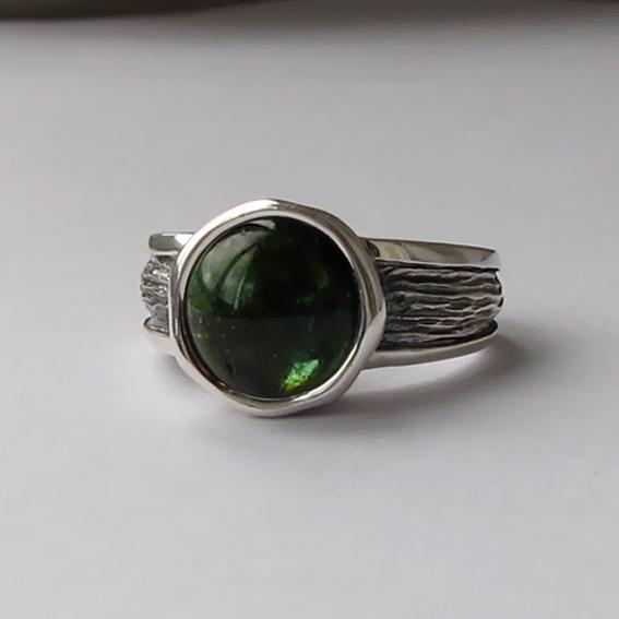 Кольцо с турмалином зеленым, арт. ПФ39