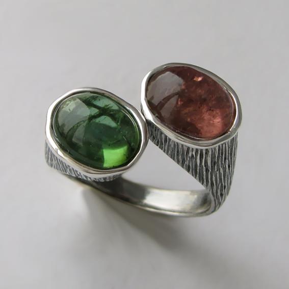 Кольцо серебряное с турмалином, арт. САТОВ3