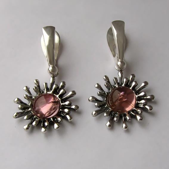 Серьги с турмалином розовым, арт. СЧ4