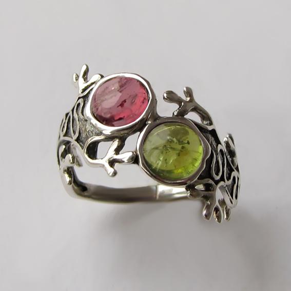 Кольцо с турмалином розовым и зеленым ЯЩ3