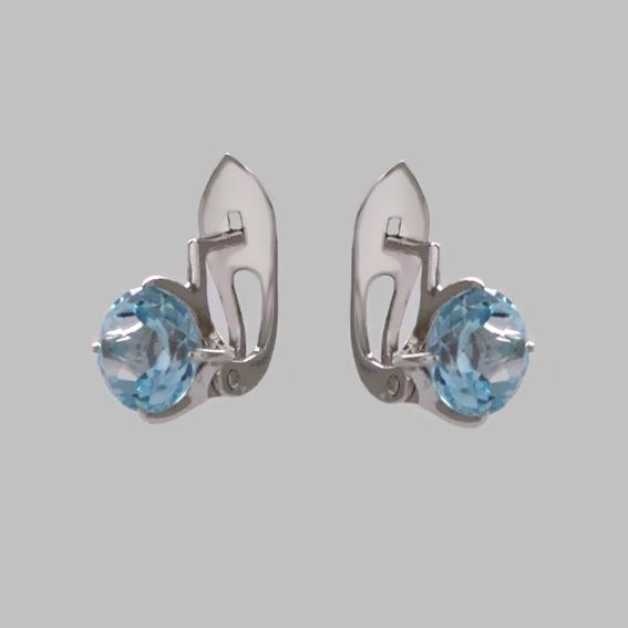 Серьги 4З4П с голубым топазом