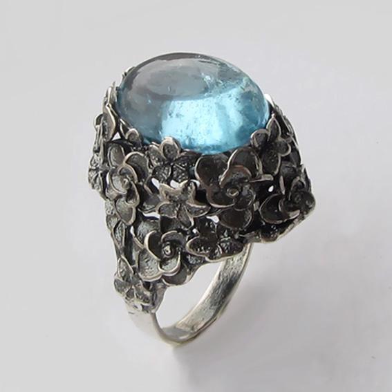 Кольцо из серебра с топазом, арт. БУК3