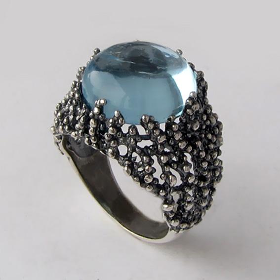 Кольцо из серебра с топазом, арт. ГАУ3