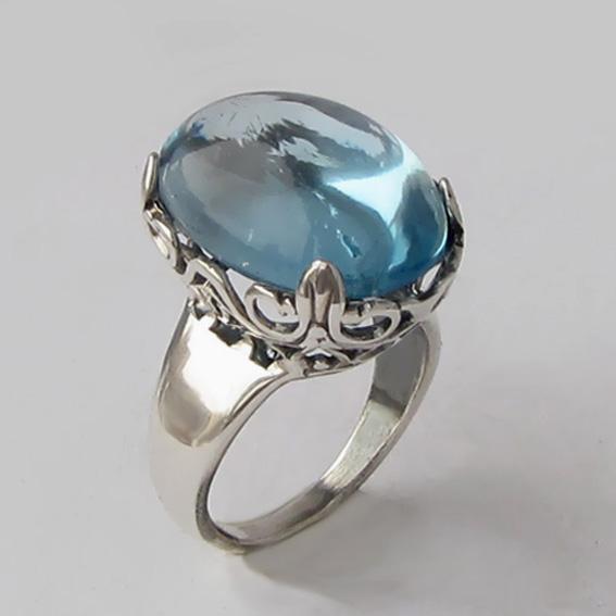 Кольцо из серебра с топазом, арт. КОР313