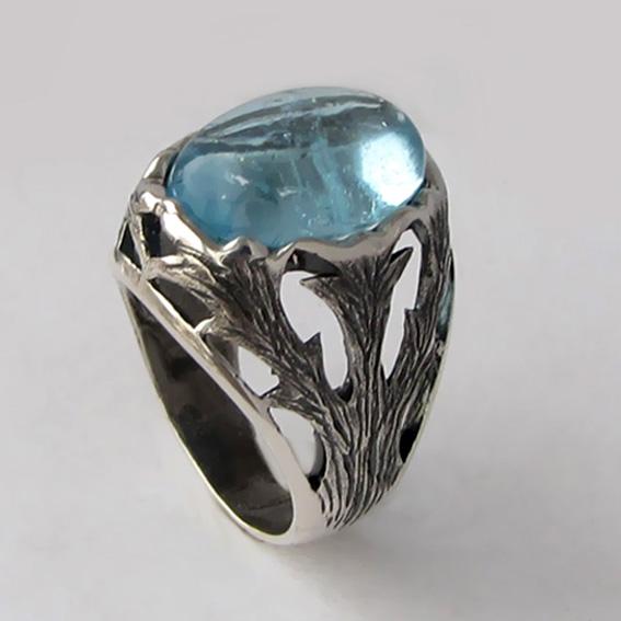 Кольцо из серебра с топазом, арт. ЛИ312