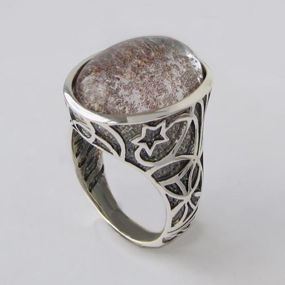 Кольцо с кварцем с хлоритом, арт.СПУТН3