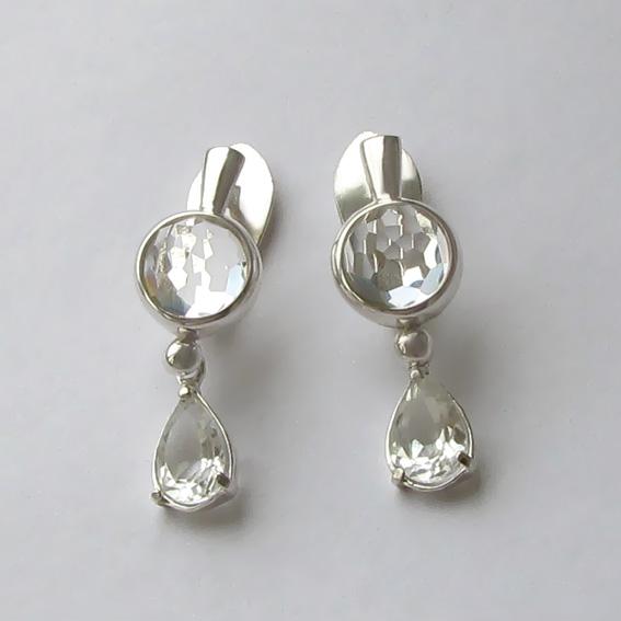 Серебряные серьги с горным хрусталем, НЗСЛ4П