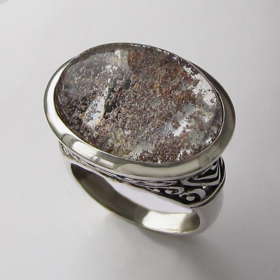 Кольцо с кварцем с хлоритом, арт. ОВВ3