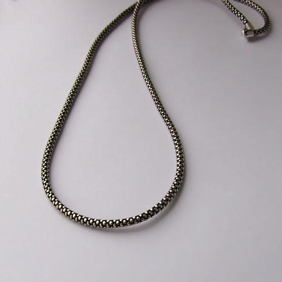 Цепь серебряная черненая Шнурок 45 см., толщина-2,8 мм.