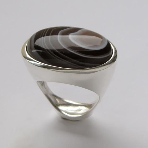 Кольцо с ботсванским агатом, арт.ЭСО3