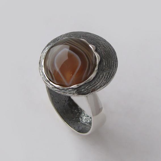 Кольцо с ботсванским агатом, арт.КЧ3Н