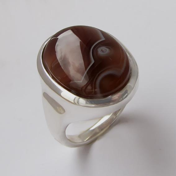 Серебряное кольцо с ботсванским агатом, арт.ОВН315