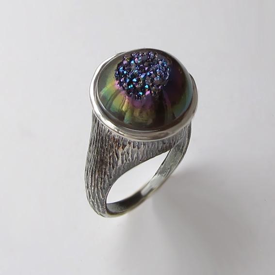 Кольцо с друзой агата, арт. ПЕ3