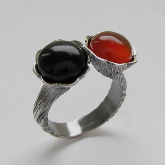 Кольцо из серебра с агатом, сердоликом арт.2ЛА3