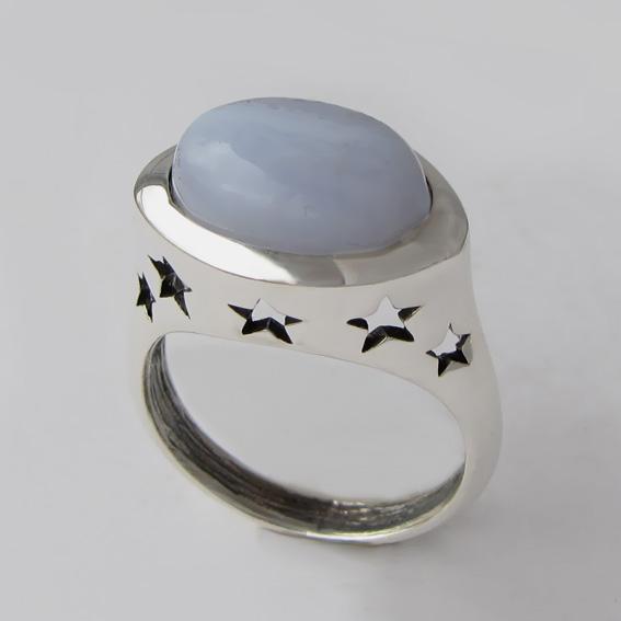 Кольцо с агатом голубым, арт.5ЗВ3