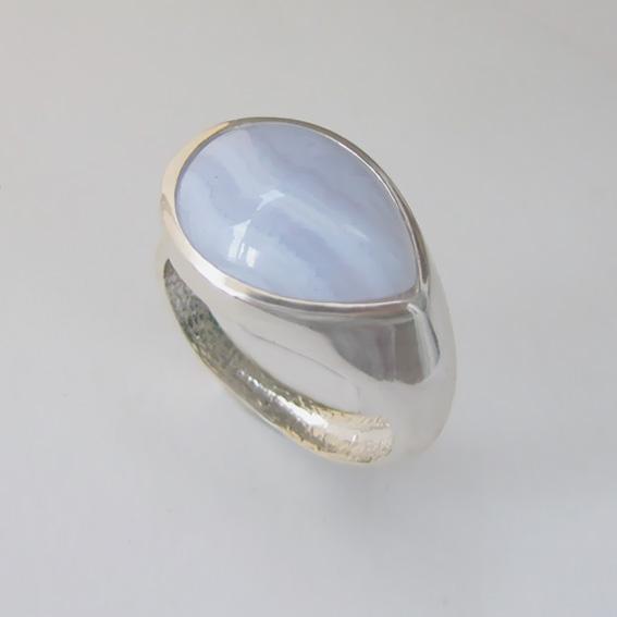 Кольцо с агатом голубым, арт. СЛК3