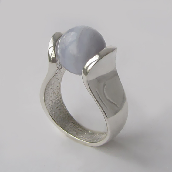 Кольцо с агатом голубым, арт. МРС3