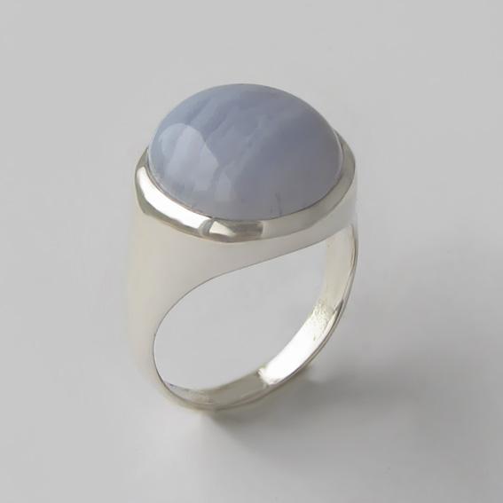 Кольцо с голубым агатом, арт.НКН315