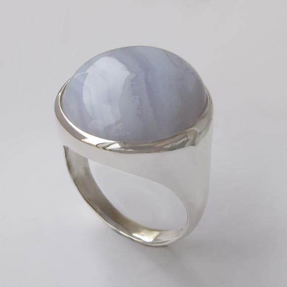 Кольцо с агатом голубым, арт.НКН318