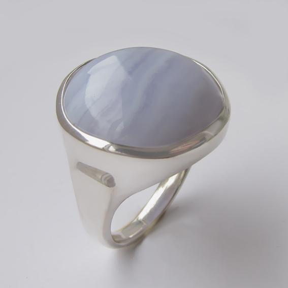 Кольцо с голубым агатом, арт.НКН320