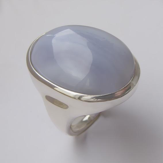 Кольцо с агатом голубым, арт.ОВН318