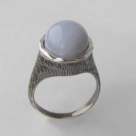 Кольцо с агатом голубым, арт.ПЕ3
