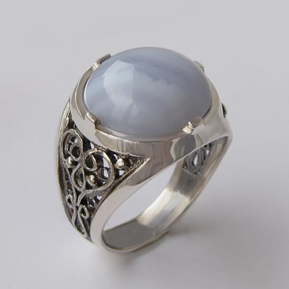 Кольцо с агатом голубым, арт.ПЕР315