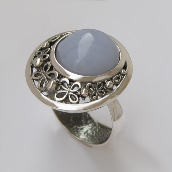 Кольцо с агатом голубым, арт. УЗ312