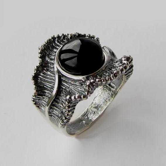 Кольцо из серебра с агатом, арт.ВОЛ32