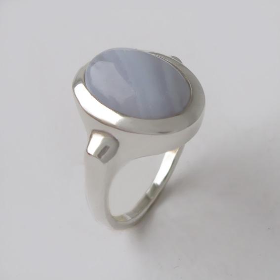 Кольцо с агатом голубым, арт. ЗЕ310