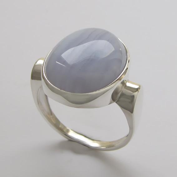 Кольцо с агатом голубым, арт. ЗЕ3