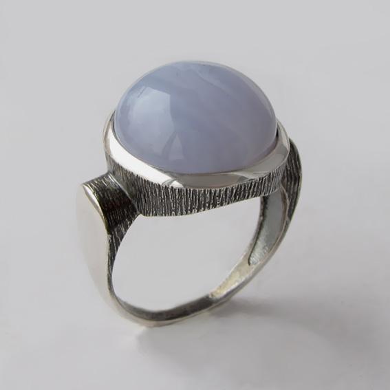 Кольцо с агатом голубым, арт. ЗЕК315Ч