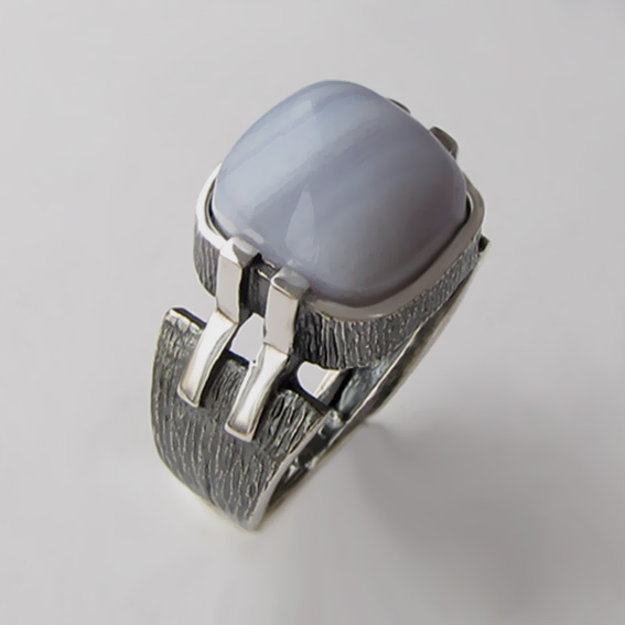 Кольцо с агатом голубым, арт.МП3