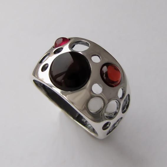 Кольцо с агатом, гранатом, прт. НЛ3
