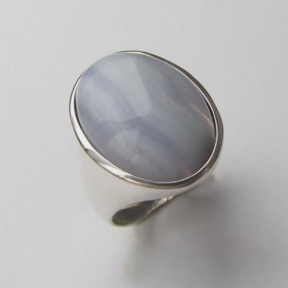 Кольцо с агатом голубым, арт. ОВН313