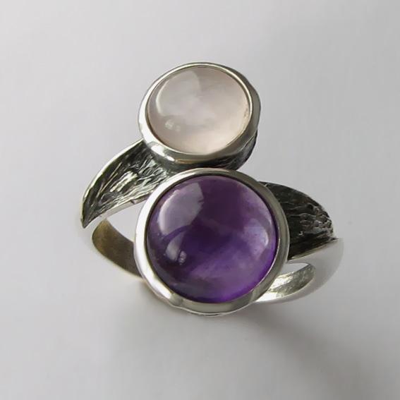 Кольцо с аметистом и кварцем, арт. 2ПФ3