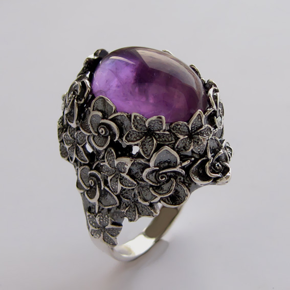 Серебряное кольцо с аметистом, арт.БУК3