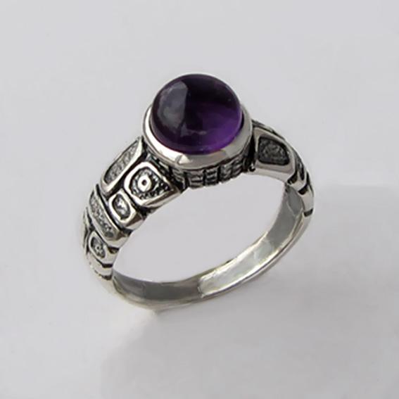 Серебряное кольцо с аметистом, арт. ГРИК3
