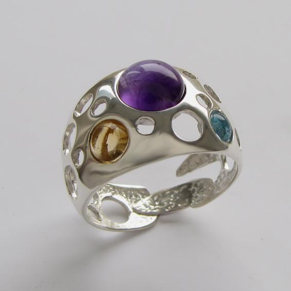 Кольцо с аметистом, цитрином, топазом, арт. НЛ3