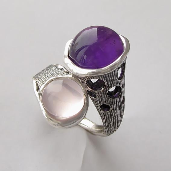 Кольцо с аметистом, кварцем, арт. Ш3