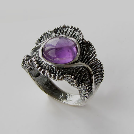 Кольцо с аметистом, арт. ВОЛ32