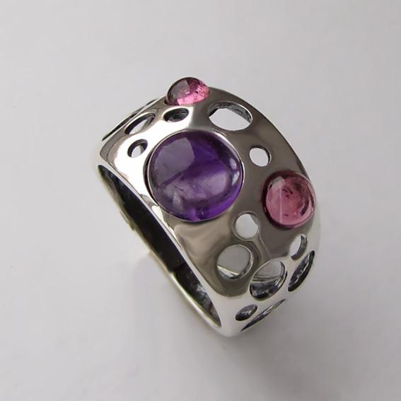 Кольцо с аметистом, турмалином, арт. НЛ3