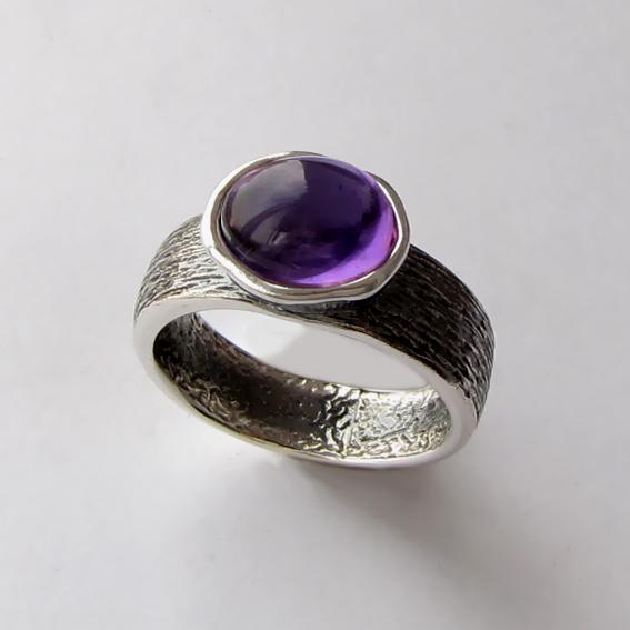 Кольцо с аметистом, арт.ПФОВ38