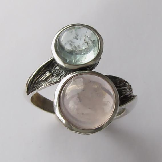 Кольцо с кварцем и аквамарином, арт. 2ПФ3