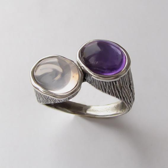 Кольцо с кварцем, аметистом,.арт. САТОВ3