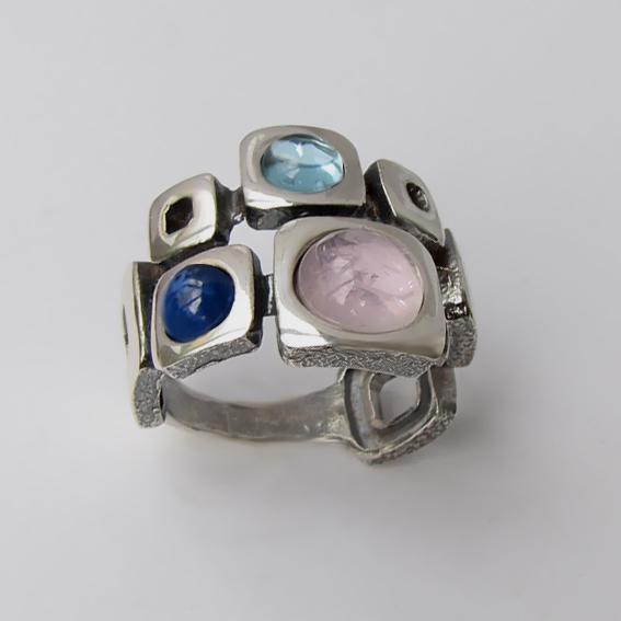 Кольцо с кварцем, кианитом, арт.8КВ3